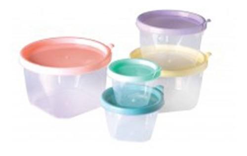Jogo De Potes Plástico 5pçs Redondo Conect Plasútil