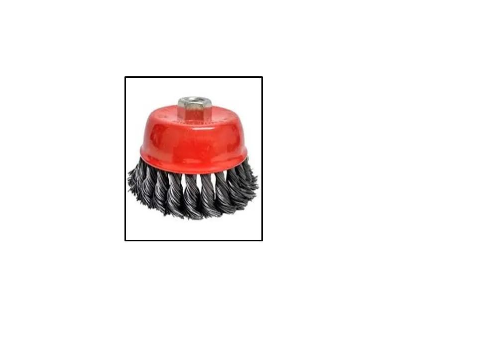 Escova De Aço Carbono, Copo, Torcida, 100mm, Rosca M14 Mtx
