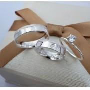 Alianças Personalizadas Amore em Prata com Pedra 5mm (Par)