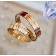 Alianças Aurora Ouro 18K com Pedra 5mm (Par)