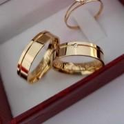 Alianças Bella em Ouro 18k com Pedra 6mm (Par)