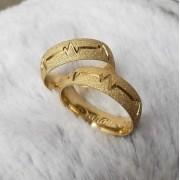 Alianças Cardio em Ouro 18k Diamantadas 6mm (Par)
