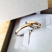 Alianças Chanfradas Encapadas em Ouro 3mm (Par)