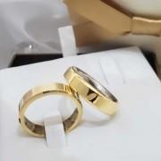 Alianças Chanfradas Encapadas em Ouro 5mm (Par)