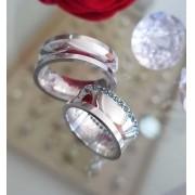 Alianças Condessa em Prata com Pedra 10mm (Par)