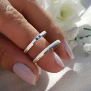 Alianças Personalizadas Florence em Prata com Pedras Azuis 2mm (Par)