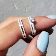 Alianças Glitter em Prata com canal 3mm (Par)