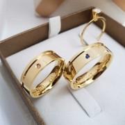 Alianças  Jade em Ouro 18k com Pedra 6mm (Par)