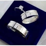 Alianças Jade em Prata com Pedra 6mm (Par)