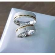 Alianças Londres em Prata com Aplique Ouro e Pedra 6mm (Par)