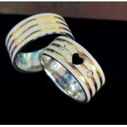 Alianças Love Gold em Prata com Aplique Ouro e Pedra 7mm (Par)