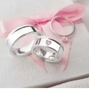 Alianças Personalizadas Marjorie em Prata Pedra Rosa 7mm (Par)