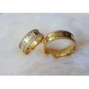 Alianças Marquesa em Ouro 18k com Pedra 7mm (Par)