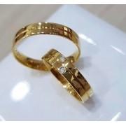 Alianças Paris em Ouro 18k com Friso e Pedra 4mm (Par)