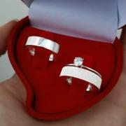 Alianças Personalizadas Paris-Glitter em Prata 5mm (Par)