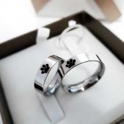 Alianças Personalizadas Patinhas em Aço Inox 4mm (Par)