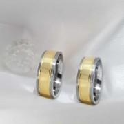 Alianças Retas Encapadas em Ouro 7,5mm Dois Frisos (Par)