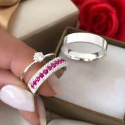 Alianças Tiffany 5mm com Pedras Branca e Rosa em Prata (Par)