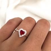 Anel Chuveiro Cinderela Ruby em Prata 925