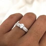 Anel Chuveiro Cristal em Prata 925 Aro 4mm