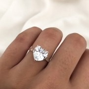Anel Coração Cristal em Prata 925 Branco