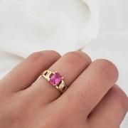 Anel Formatura em Ouro 18k com Cristal Rosa