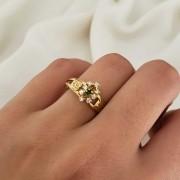 Anel Formatura em Ouro 18k com Esmeralda Sintética