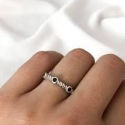 Anel Indiano em Prata 925 Pedra Preta