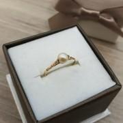 Anel Pérola Natural em Ouro 18k
