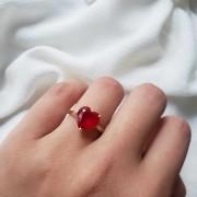 Anel Solitário Coração Ruby Sintético em Ouro 18K