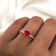 Anel Solitário em Prata Vermelho 6096A
