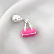Berloque Bolsa Feminina Rosa Banhado em Prata