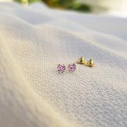 Brinco Baby Coração Cristal em  Ouro 18k Rosa