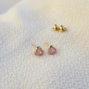 Brinco Coração Cristal em Ouro 18k Rosa