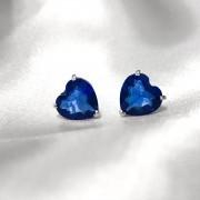 Brinco Coração em Prata 925 (Azul Bic)