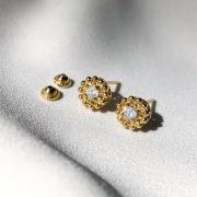 Brinco Flor com Pedrarias em Ouro 18k
