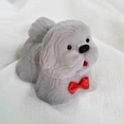 Caixinha Cachorro em Veludo Cinza (Anel)