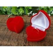 Caixinha Coração em Veludo Vermelho  (Anel)