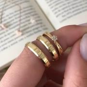Combo Alianças Elora 4mm com Pedra Ouro 18k + Anel Camélia Ouro 18k