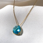 Conjunto Corrente Veneziana em Ouro 18k 45cm + Pingente Gota em Ouro 18K Azul