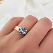 Anel Formatura em Ouro 18k com Cristal Azul Claro