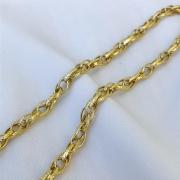 Corrente Elo Duplo Detalhado em Ouro 18K 45cm