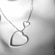 Corrente Pingente Transversal Coração em Prata 925