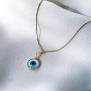 Gargantilha com Olho Grego em Ouro 18K 45cm