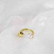 Piercing Coração Duplo Cristal em Ouro18K