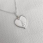 Pingente Coração em Prata 925 com N.S. Aparecida