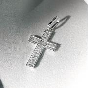 Pingente Cruz Cravejada em Prata 925 (Cristais)