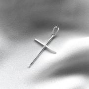Pingente Cruz Lisa com Passador em Prata 925 G