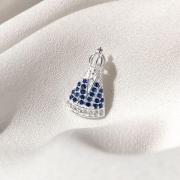 Pingente Nossa Senhora Aparecida em Prata 925 (Pedra Branca e Azul)