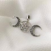Pingente Simbolo Deusa Tripla em Prata 925